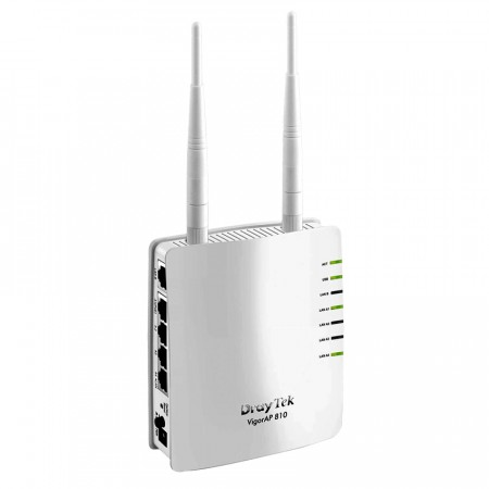 VigorAP 810 : Access Point 802.11n, 5-Port 10/100Mbps (1-Port PoE), 2 Antennas MIMO, Multi-Operation Mode AP / Client / AP WDS/ WDS Bridge