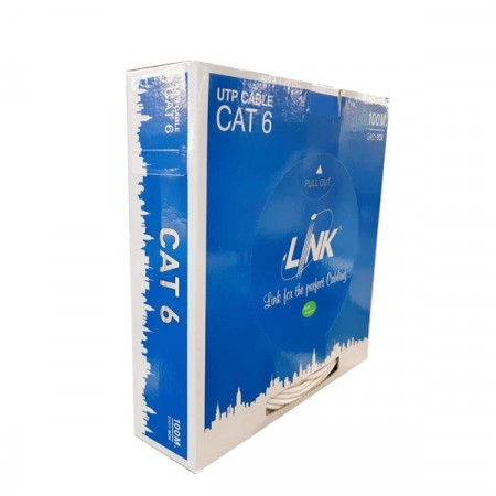 LINK US-9106-1 CAT6 Indoor UTP Cable, Bandwidth 250MHz w/Cross Filler, 23 AWG, CMR White Color 100 M./Easy Box *สั่งซื้อ 2 กล่อง ส่งฟรีเขต กทม.