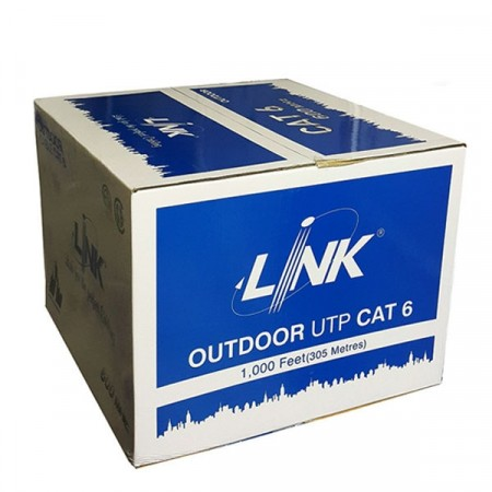 LINK US-9106MD CAT6 Outdoor Ultra UTP Cable PE Messenger Wire (Double Jacket), Bandwidth 600MHz w/Cross Filler, 23 AWG, CMX Black Color 305 M./Reel in Box