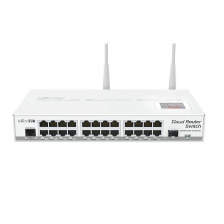 MikroTik CRS125-24G-1S-2HnD-IN Cloud Router Switch 24-Port Gigabit Ethernet Layer 3, 1-Port SFP, LCD Status,802.11n Wireless, CPU 600MHz, RouterOS L5
