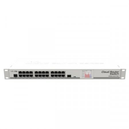 MikroTik CRS125-24G-1S-RM Cloud Router Switch 24-Port Gigabit Ethernet Layer 3, 1-Port SFP, LCD Status, 1U rackmount, RouterOS L5