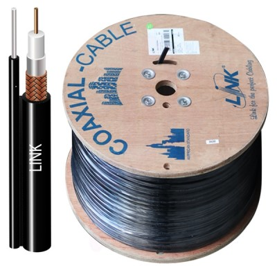 LINK CB-0108M RG 6/U Outdoor Cable Black PE Jacket w/Messenger, 95% Shield , MILITARY GRADE 500m./ Reel in Box