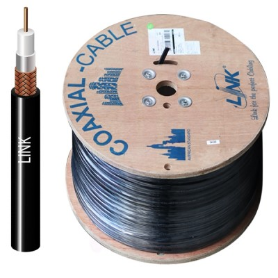 LINK CB-0108P RG 6/U Outdoor Cable Black PE Jacket, 95% Shield MILITARY Grade 500m./ Reel in Box
