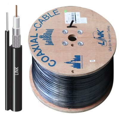 LINK CB-0109SM+ RG 6/U Outdoor Cable Black PE Jacket w/Messenger, 96% Shield , STANDARD+ 500m./ Reel in Box