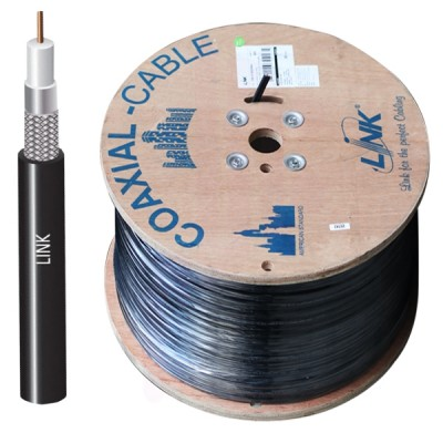 LINK CB-0109SP+ RG 6/U Outdoor Cable Black PE Jacket, 96% Shield STANDARD+ 500m./ Reel in Box