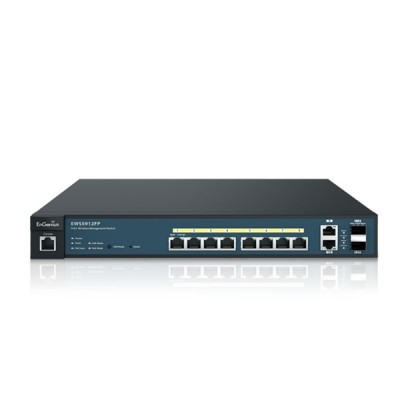 EnGenius EWS5912FP L2 Switch PoE 8-Port Gigabit Managed 802.3af/at, 2-Port Uplink and 2-Port SFP, Total Budget 130W, Centralized Network Management, Rackmount 1U Model