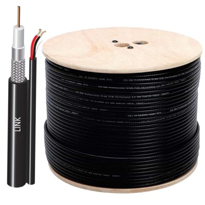 LINK CB-0109SW+ RG 6/U Cable Black Jacket w/Copper Power wire, 96% Shield STANDARD+ 500m./ Roll