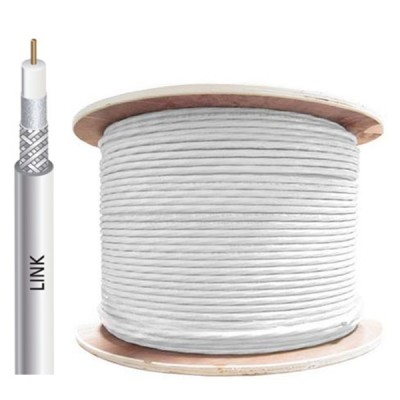 LINK CB-0109S+WH RG 6/U Cable White Jacket, 96% Shield STANDARD+ 500m./ Ree in Box.