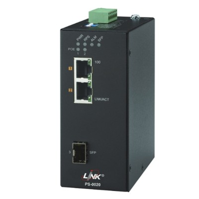 LINK PS-0020 2- Port Industrial FAST PoE Switch (90W) 2 FE(PoE) + 1 SFP (FE) PoE Power Budget:60W, Metal Case