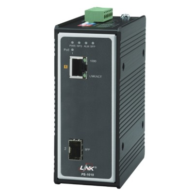 Link PS-1010 Industrial PoE+ Switch, 1-Port 10/100/1000Base-T PoE/PoE+ and 1-Port Gigabit SFP