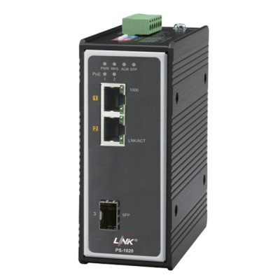 Link PS-1020 Industrial PoE+ Switch, 2-Port 10/100/1000Base-T PoE/PoE+ and 1-Port Gigabit SFP