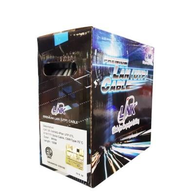 LINK US-9015-1 CAT5E Indoor UTP Enhanced Cable, Bandwidth 350MHz, CMR White Color 100 M./Box *สั่งซื้อ 2 กล่อง ส่งฟรีเขต กทม.