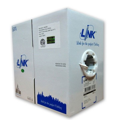 LINK US-9106 CAT6 Indoor UTP Calble, Bandwidth 250MHz w/Cross Filler, 23 AWG, CMR White Color 305 M./Pull Box *ส่งฟรีเขต กทม.