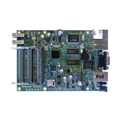 RB433UAH : RouterOS LV 5, CPU 680MHz Ram 128MB, 1Serial Port, 3MiniPCI slots, 2 USB