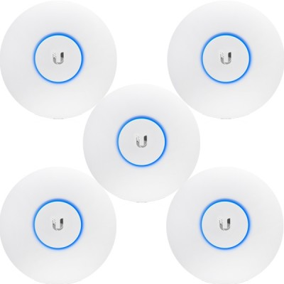 Ubiquiti UAP-AC-LITE-5 Pack 5 Indoor AP 802.11ac, Dual-Band 2.4GHz&5GHz, Antennas 3dBi, Power 20dBm, 24V/0.5A Gigabit PoE Adapter Included