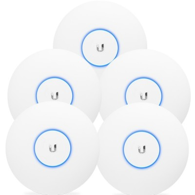 Ubiquiti UAP-AC-PRO-5 Pack 5 Indoor/Outdoor AP Performance 802.11ac, Dual-Band 2.4GHz&5GHz, Antennas 3dBi, Power 22dBm, 48V/0.5A Gigabit PoE Adapter not Included