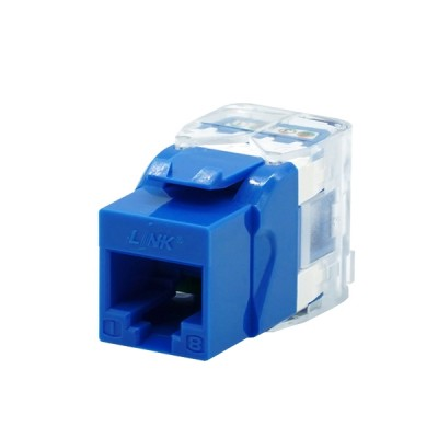 Link US-1005STF CAT 5E RJ45 Blue Modular Jack, Slim Tool Type
