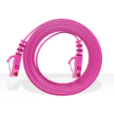 LINK US-5042-7 CAT 5E RJ45-RJ45 Flat Patch Cord Cable 2 M. (Star Pink)