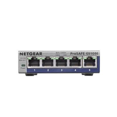 Netgear GS105E-200PES Unmanaged Desktop Network Switch Gigabit Ethernet (10/100/1000) , Metal Enclosur