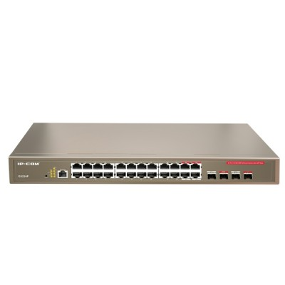 IP-COM G3224P : Manage PoE Switch 24-Port Gigabit, 4-Port SFP Combo, Total Power 370W, Web Smart Config