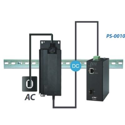 LINK PS-0010 1 – Port Industrial FAST PoE Media Converter Switch (90W) 1 FE(PoE) + 1 SFP (FE), PoE Power Budget 30W