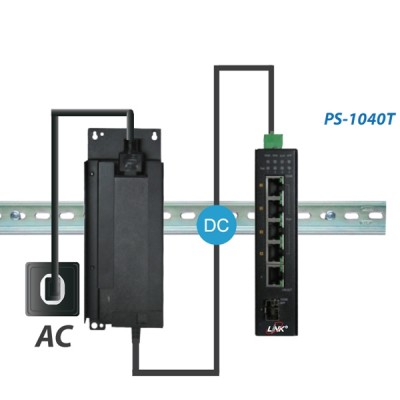 Link PS-1040T Industrial PoE+ Switch, 4-Port 10/100/1000Base-T PoE/PoE+ with 1-Port GE + 1-Port Gigabit SFP Uplink