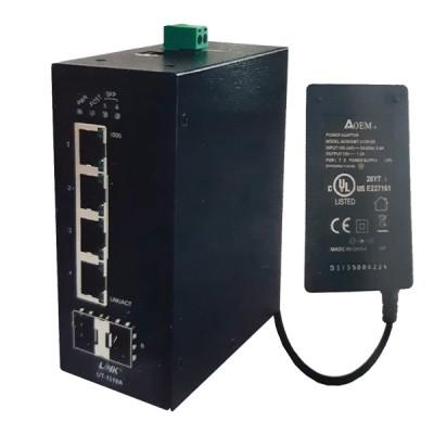 Link UT-1319A Fiber Gigabit Media Converter Hardened Type, 10/100/1000 Mbps, 4-Port RJ45, 2-SFP Slot (Blank) 550km *ส่งฟรีทั่วประเทศ