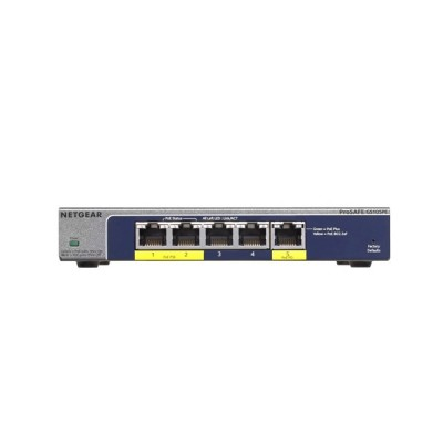 Netgear GS105PE 5-Port Gigabit PoE Managed Plus Switch, 2 x 802.af PoE pass-through