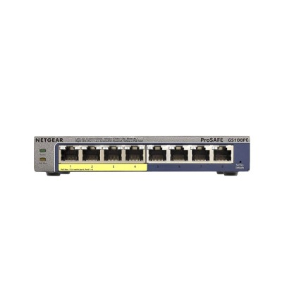 Netgear GS108PE 8-Port Gigabit PoE Smart Managed Plus Switch, with 4-Port PoE, PoE budget 53w