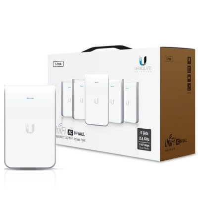 Ubiquiti UAP-AC-IW-5 Pack 5 UniFi AC IN-WALL 802.11ac Speed 1,167Mbps, Dual-Band 2.4GHz&5GHz, Power 20dBm, 802.3at PoE+ Supported