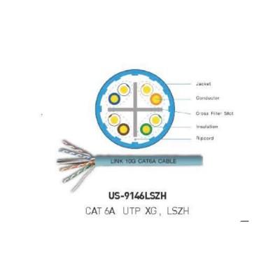 LINK US-9146LSZH CAT6A UTP XG Cable, Bandwidth 750MHz, LSZH, สีฟ้า aqua Color 305 M./Roll Box *ส่งฟรีเขต กทม.